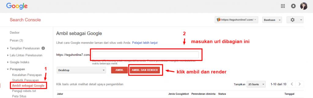 Search Console Ambil sebagai Google teguhonline7