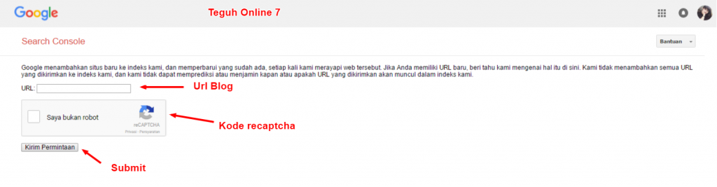 Cara cepat submit url blog ke index google