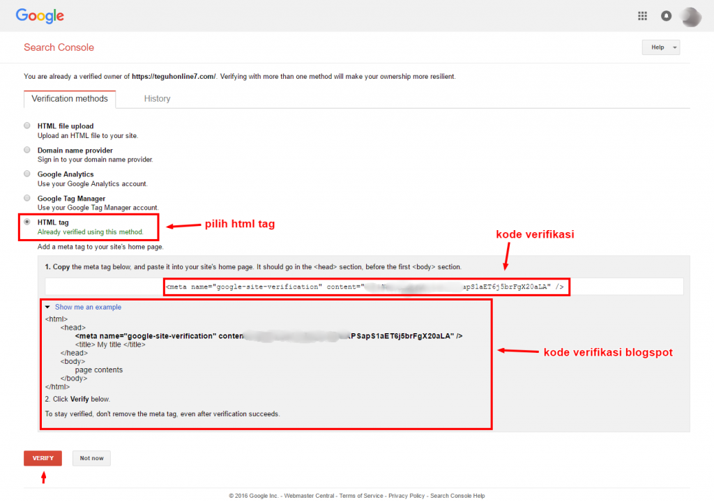kode verifikasi webmaster tools google
