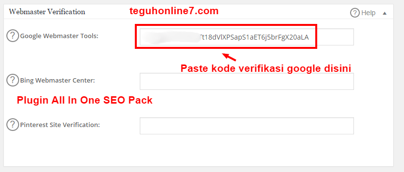 verifikasi google webmaster tools plugin all in one seo pack